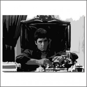 Scarface schilderij - Tony Montana behind his desk
